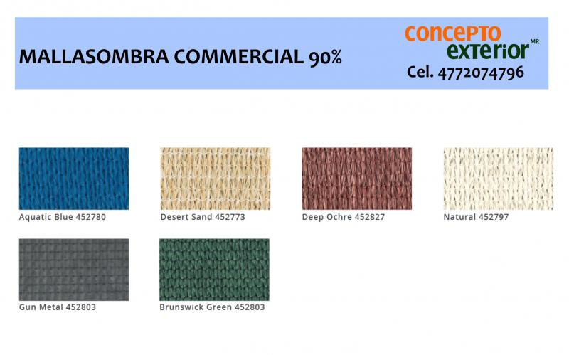 Carta Colores Malla Sombra 90% Commercial