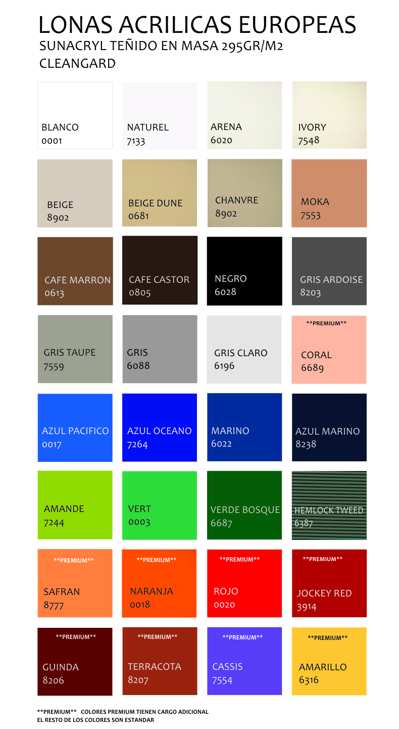 Sunacryl color chart